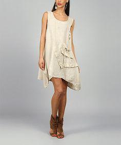 Look at this #zulilyfind! 100% LIN BLANC Sand Laura Linen Scoop Neck Dress by 100% LIN BLANC #zulilyfinds