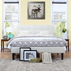 Classic Deluxe Ivory Linen Low Profile Platform Bed Frame with Tufted Headboard Design (King)