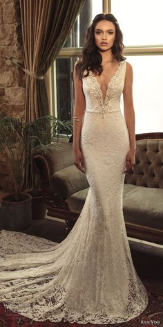 julie vino 2017 bridal sleeveless deep plunging v neck full embellishment elegant sexy fit and flare weding dress open low v back chapel train (1258) mv -- Romanzo by Julie Vino 2017 Wedding Dresses