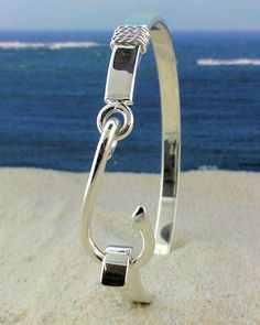 Sterling Silver Fish Hook Bracelet with Nautical Rope.