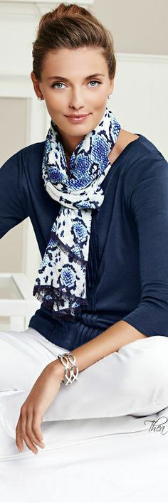 Great outfit. Love the top and the scarf. Talbots ● SS 2014 via @theatoria. #Talbots #tops