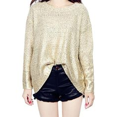 Women's Long Bat Sleeve Crew Neck Knit Loose Sweaters Pullover * More info could be found at the image url. (This is an affiliate link) #Sweaters