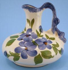 Cash Family Pottery Pitcher Ewer Flowers Irwin Tennessee Blue Ridge #CashFamily