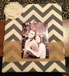 Gray & Beige Chevron Wrapped Frame with clip picture hanger over burlap strip and canvas flower on Etsy, $31.00