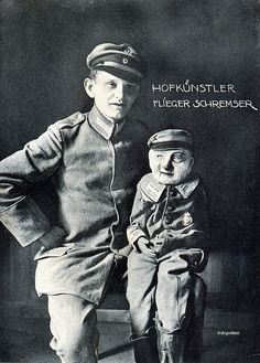 A postcard depicting Flieger Schremser and his dummy. Paul Winchell, Shari Lewis, Ventriloquist Puppets, Adora Batbrat, Punch And Judy, Travel Capsule, Wild Style, Belly Laughs, Vintage Photographs