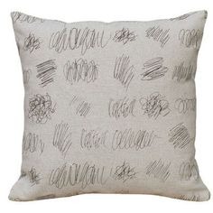 """Features:  -Cover Material: 100% Linen.  -Scribbles pattern.  -Hand screen printed.  Product Type: -Throw pillow.  Color: -Grey.  Style (Old): -Contemporary.  Size: -18"""" Square.  Shape: -Square.  Cove"""