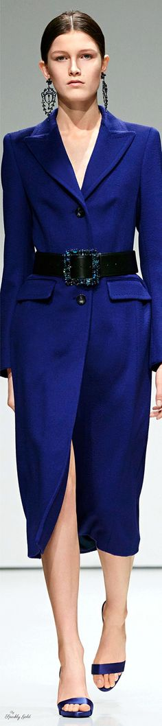 Escada Fall 2016 Ready-to-Wear Fashion Show Office Fashion, Business Fashion, Business Wear, Blue Fashion, Autumn Fashion, Fashion 2016, Classic Fashion, Fashion Beauty, Capes