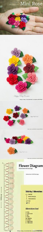 "РОЗОЧКА КРЮЧКОМ ""Small roses with chart."", ""Rosas a crochet"" Crochet Diy, Crochet Flower Tutorial, Crochet Flower Patterns, Crochet Motif, Crochet Crafts, Yarn Crafts, Crochet Projects, Rose Patterns, Crochet Ideas"