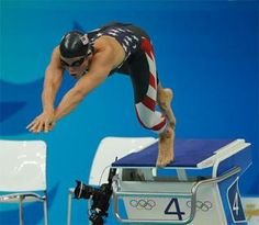 Dara Torres swimming in the 2008 Beijing Olympics.