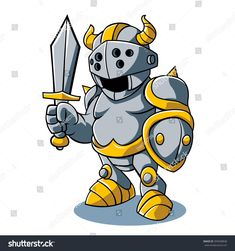 Cartoon knight With Swords Shield Helmet Army Uniform Art Print by mario's - X-Small Cartoon Knight, Character Concept, Character Design, Create Picture, Suit Of Armor, Medieval Armor, Art Icon, Poster Prints, Art Prints