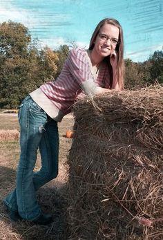 Hay bales at pumpkin patch