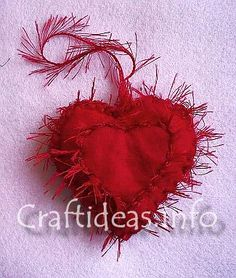 Fringed Felt Heart Ornament