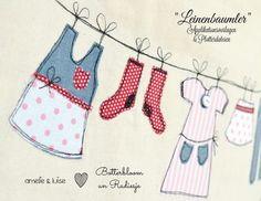 kostenlose Applikationsvorlage Leinenbaumler von Amelie&Luise free applique pattern Clothes laundry line