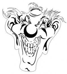 Free Online Airbrush Stencils   Airbrush Stencils - Clowns Small at SM Designs