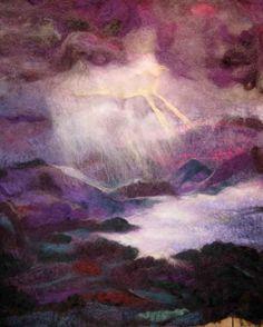 Light Show over Derwentwater, felted merino wool 60x90cm (SOLD)