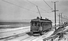 Pacific Electric interurban car on the shoreline.  (Charles D. Savage Photo, Donald Duke Collection, Pacific Electric Railway Historical Society Collection)