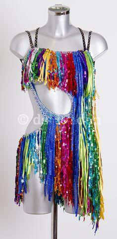 Amazing fringing sequins ribbon and stoned fringe Meme Costume, Tap Costumes, Ballroom Costumes, Samba, Latin Ballroom Dresses, Ballroom Dancing, Tutu, Sequin Outfit, Skating Dresses