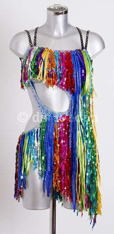 Jenette Manrara ocean blue multi fringe Latin dress