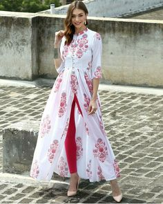 I'd prefer the slit a tiny bit lower, but, oh my! This is lovely! The Secret Label White Cotton Printed Front Slit Kurti Kurta Designs, Blouse Designs, Indian Attire, Indian Wear, Fashion Mode, Look Fashion, Fashion Trends, Indian Dresses, Indian Outfits