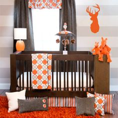 Echo Crib Bedding Collection + Nursery Decor. Cute wall decal + paint scheme. Perfect for a little boy's nursery :-)