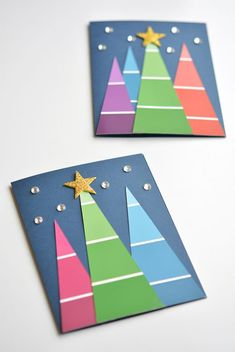Paint Chip Christmas Cards via One Little Project || One of 10 amazing Christmas crafts kids can make for teachers, grandparents and friends! Super easy and very impressive looking! || Christmas Cards Kids Can Make: 10 More Inspiring Ideas! || Another fun Christmas post from Letters from Santa Holiday Blog