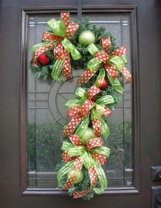 Christmas Wreath Candy Cane Decoration Door Decor by LuxeWreaths, $85.00