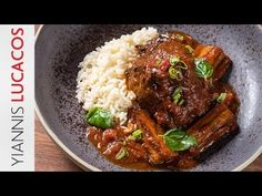Μοσχάρι κοκκινιστό με μελιτζάνες & πιλάφι | Yiannis Lucacos - YouTube Eggplant, Lamb, Greek, Food And Drink, Pork, Sunday, Meat, Cooking, Recipes