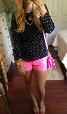 Black anchor sweater + neon pink shorts + gold accessories = cute summer (transitional to Fall) outfit!