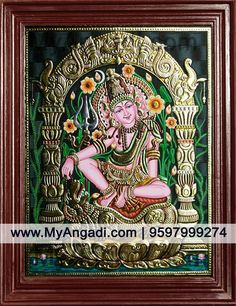 Lord Siva in Indonesia Style Tanjore Paintings Mysore Painting, Tanjore Painting, Krishna Painting, Mural Painting, Painting & Drawing, Paintings, Gold Leaf Art, Outline Drawings, God Pictures