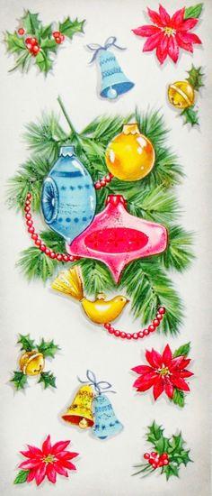 Vintage Christmas Card. Retro Ornaments.