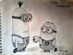 This is a sketch of the Minions as seen in the movie. The Minions Sketch Minion Sketch, Minion Drawing, Pencil Drawings, Minions, Disney Characters, Fictional Characters, Horses, The Minions, Fantasy Characters