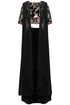 Mansi Malhotra Black Floral Embroidered Crop Top with Palazzo Pants and Jacket Set. Shop now: https://www.perniaspopupshop.com/designers/mansi-malhotra #perniaspopupshop #contemporary #happyshopping #black #floral #embroidered #palazzo #mansimalhotra