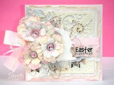 Graciellie Design: Easter Bunny Frilly Card - Adding Tons of Layers & Texture - Shabby chic card, handmade flowers, mixed media card, Decoart Snow-tex, digital stamps, Spellbinders