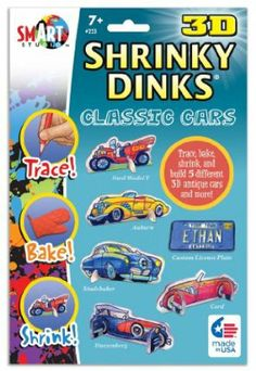 """3-D Shrinky Dinks Classic Cars by BSW Toy. $9.14. Everybody loves Shrinky Dinks!. Each envelope contains 10 (5' x 8"""") sheets of the amazing plastic, baking instructions and a 2 sided tracing sheet."""