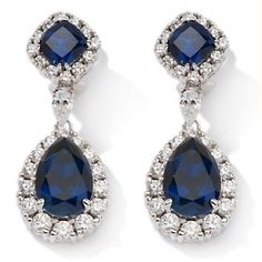 Jean Dousset 10.5ct Absolute™ and Created Blue Sapphire Sterling Silver Drop Earrings at HSN.com