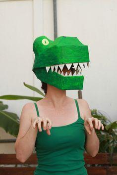 Paper Mache Dinosaur Mask DIY : T-rex costume