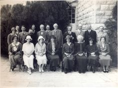 The House Party at Government House [Augusta Victoria] for the University Opening: Bottom row: Miss N[ancy] Samuel; Mrs. D'Avigdor Goldsmid; Mrs. Lascelles; Lady Allenby; Lady Samuel; Lady Ullswater; Mrs. Hertz ; Miss Iris Castello. Second row: Miss Franklin; Mr. Osmond D'Avigdor Goldsmid; The Very Rev. Dr. Hertz; Lord Ullswater; Lord Balfour; Sir Herbert Samuel; Lord Allenby; Professor Rappard; Captain Monckton. Third row: Captain Gisborne; Mr. Clowes; The Hon. Major Lascelles [1/4/1925]