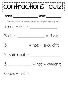 "I could use this ""quiz"" as a pre-assessment for my contractions lesson. I could give this out before I teach my lesson to see how much students know on the subject and know where to go from there."
