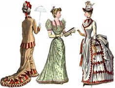 Victorian fashions reflect clothing worn between Despite the prim and proper feminine ideal, Victorian clothing includes outrageous styles like hoop skirts and bustles. Victorian Era Dresses, Victorian Era Fashion, 1890s Fashion, Victorian Costume, Victorian Women, Victorian Houses, Victorian Gothic, French Fashion, Vintage Fashion