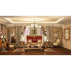 """""""Спальная комната золотисто-бежевых оттенков в стиле барокко. Интерьер спальни гармонично обыгрывается бордовым, коричневым и розовым цветами. #mill_studio"""""""