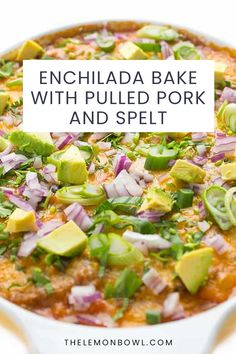 This cheesy enchilada bake is made with tender pulled pork, black beans, chewy spelt and loads of veggies. Perfect for feeding a crowd! Cheesy Enchiladas, Enchilada Bake, Mexican Appetizers, Meat Substitutes, Feeding A Crowd, Lunches And Dinners, Kitchen Recipes, Pulled Pork, Black Beans