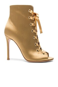GIANVITO ROSSI  Satin Marie Lace Up Booties $285