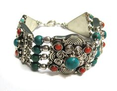 Global Huntress Stunning Chic All Natural Turquoise Multi Colored Stones Unique Attractive Wide Stretch Bold Statement Bangle Cuff Bracelet