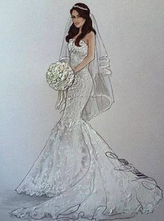 ☼☾lwttoxxic Wedding Dress Illustrations, Wedding Dress Sketches, Fashion Illustration Dresses, Wedding Illustration, Dream Wedding Dresses, Wedding Gowns, Bride Clipart, Lovely Girl Image, Fashion Design Sketches