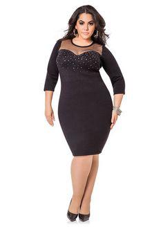 Plus Model: Nicole Zepeda,  Agency: MSA Models, Agent: Susan Georget Beaded Mesh Yoke Sweater Dress Beaded Mesh Yoke Sweater Dress