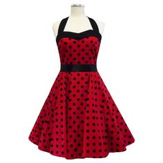 50's Red and Black Polka Dot Rockabilly Dress Swing Evening Party Dress UK Sizes 10/12/14/16 on Etsy, $49.01