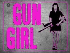 Gun Girl Metal Novelty Parking Sign Guns Dont Kill People, Vintage Tin Signs, Novelty License Plates, Flag Signs, Parking Signs, Blonde Guys, Dog Rules, Vinyl Banners, Vinyl Lettering
