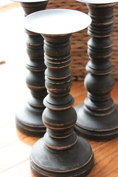 BLACK Wooden Candleholder Wood Candle Stick Pillar Distressed Wood Stand Vintage Style Halloween Shabby Wedding Rustic