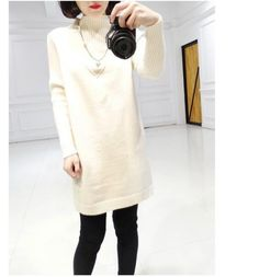 Cheapest Sweaters Fashion The Pure Color Thick Loose Sweater Coat White
