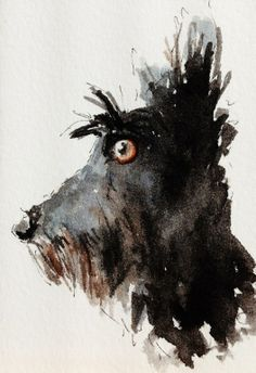 "Saatchi Online Artist: Patch Wheatley; Watercolor 2013 Painting ""Scottie Dog"""